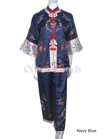 Female Archaistic Pants Suit - Floral Embroideries